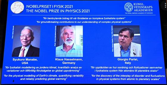 2021 Nobel Prize in Physics awarded to Syukuro Manabe, Klaus Hasselmann and Giorgio Parisi